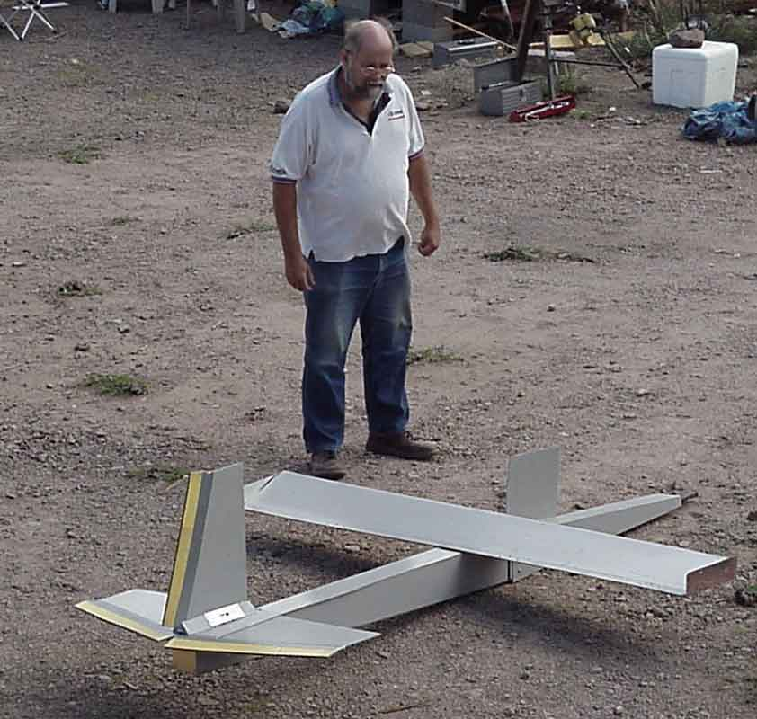 Mike with another one of his inventions -- a glider powered windmill