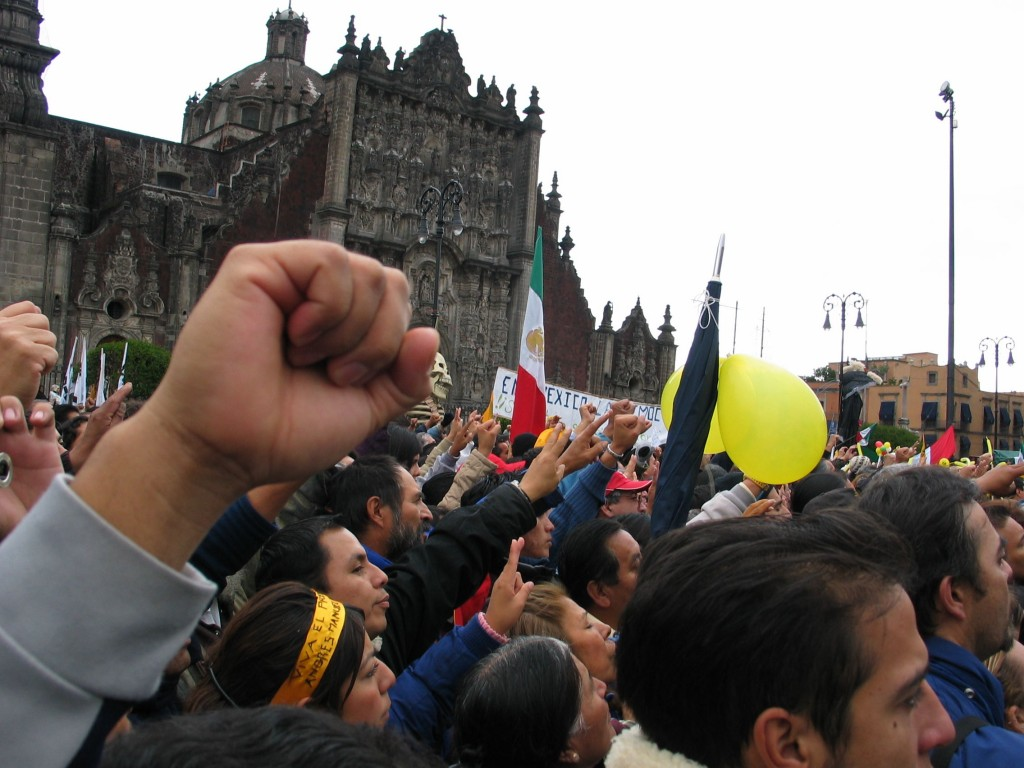 The crowd cheering on AMLO at the Zócalo in Mexico city on November 20th