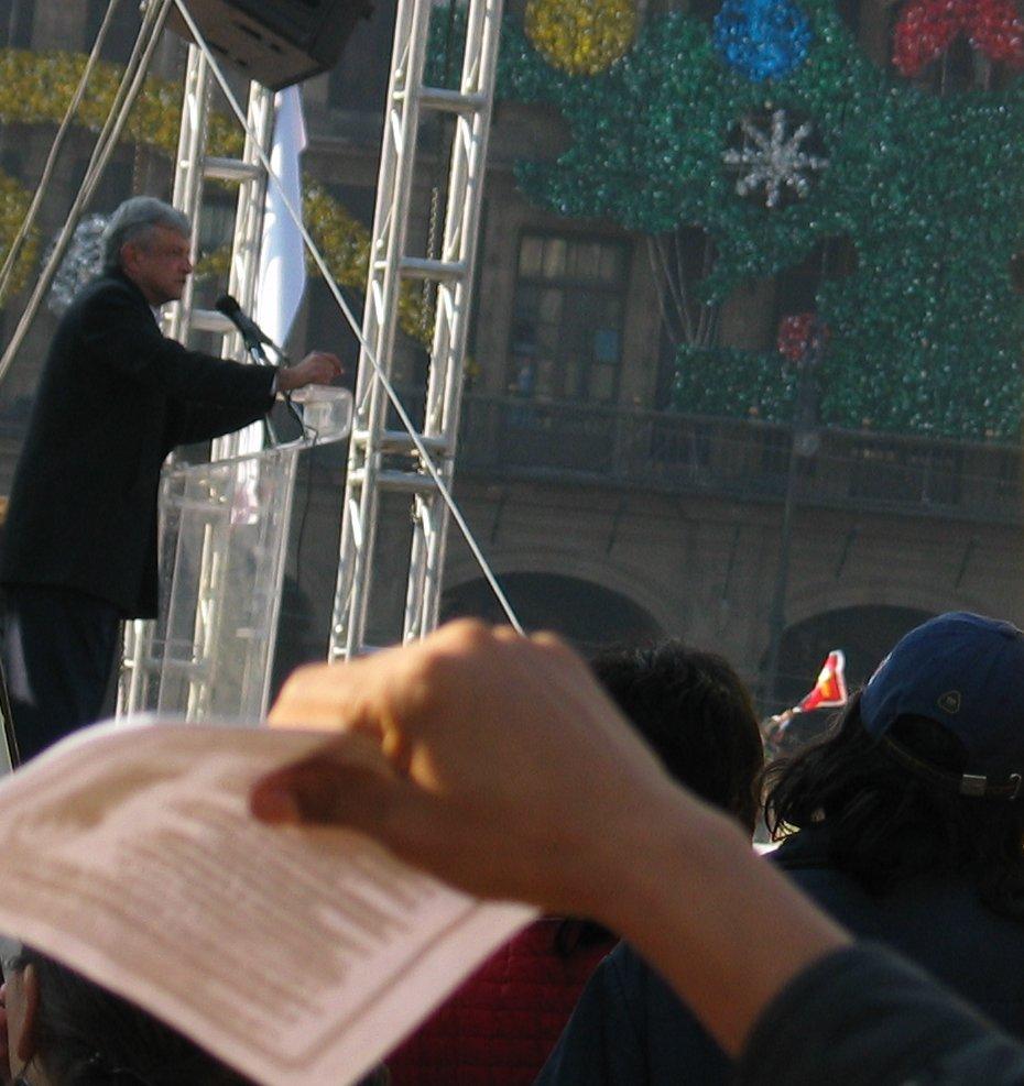 Obrador speaking in Mexico city on December 1st