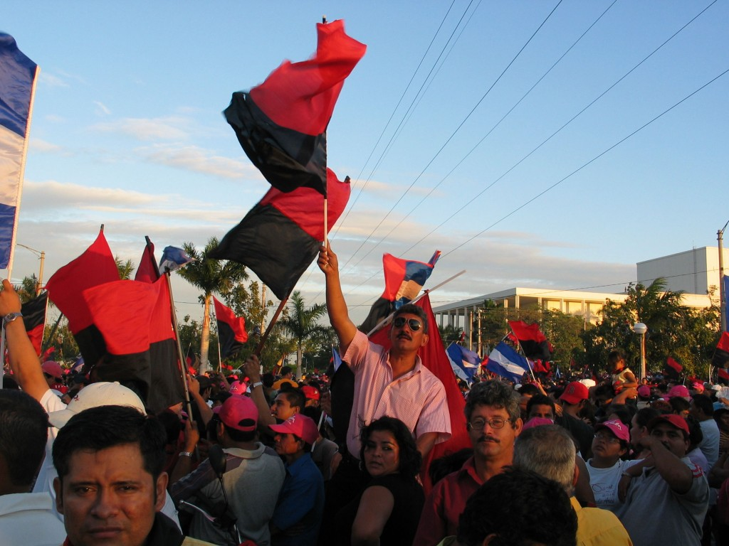 In the crowd, waiting 3 hours for Chavez, Morales, Ortega...