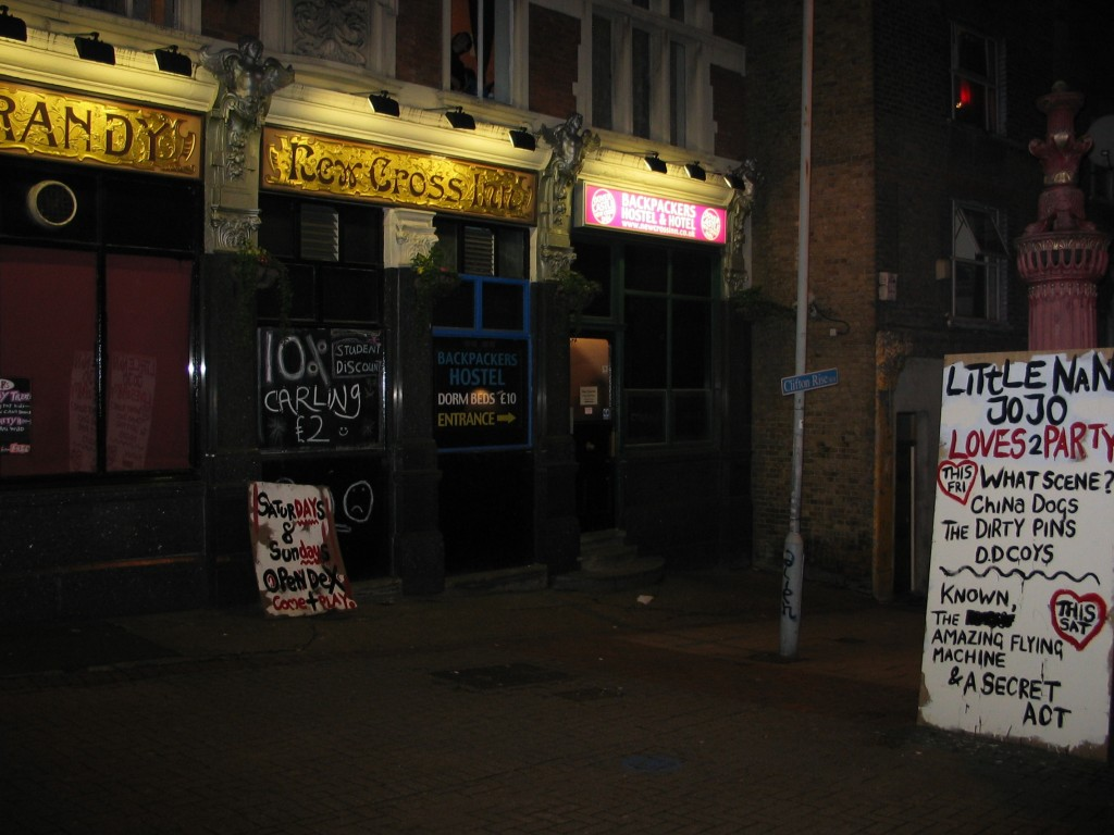 New Cross Inn -- the people who live here rarely have the means to participate in the parties downstairs.