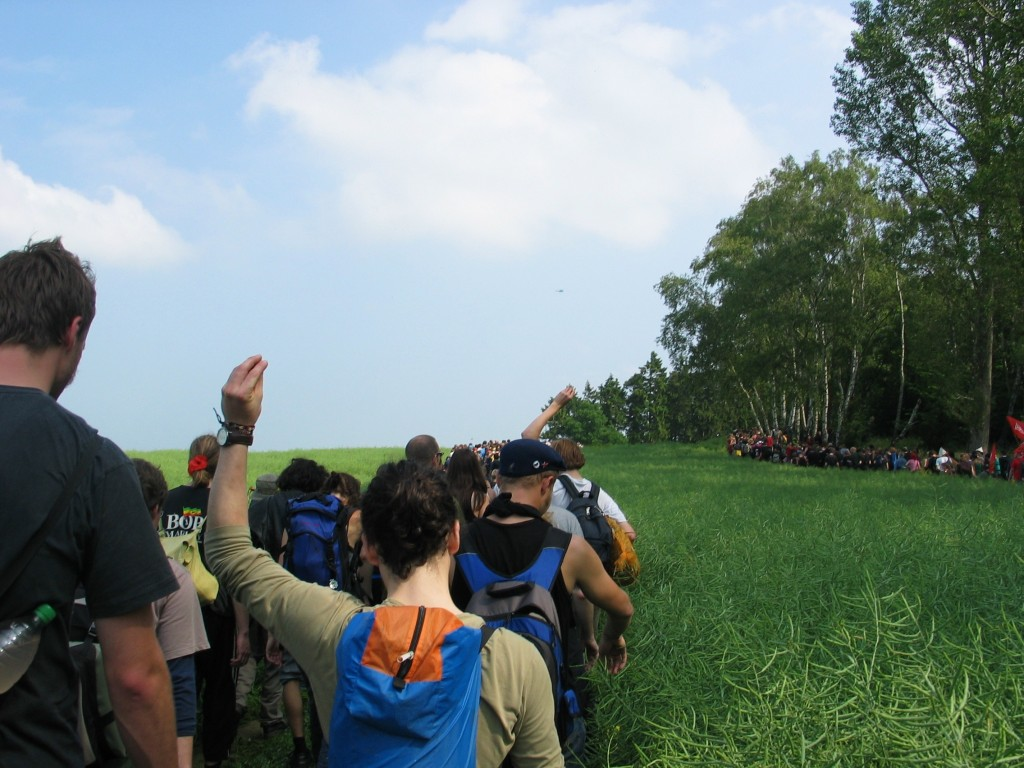 On our way to the blockade we had to walk through fields because the police had cut off all the main roads.