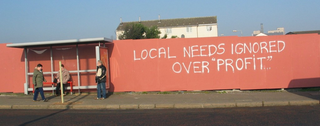 Local demands against profit rather than alliance with one EU-country or another can be seen in Belfast as well.